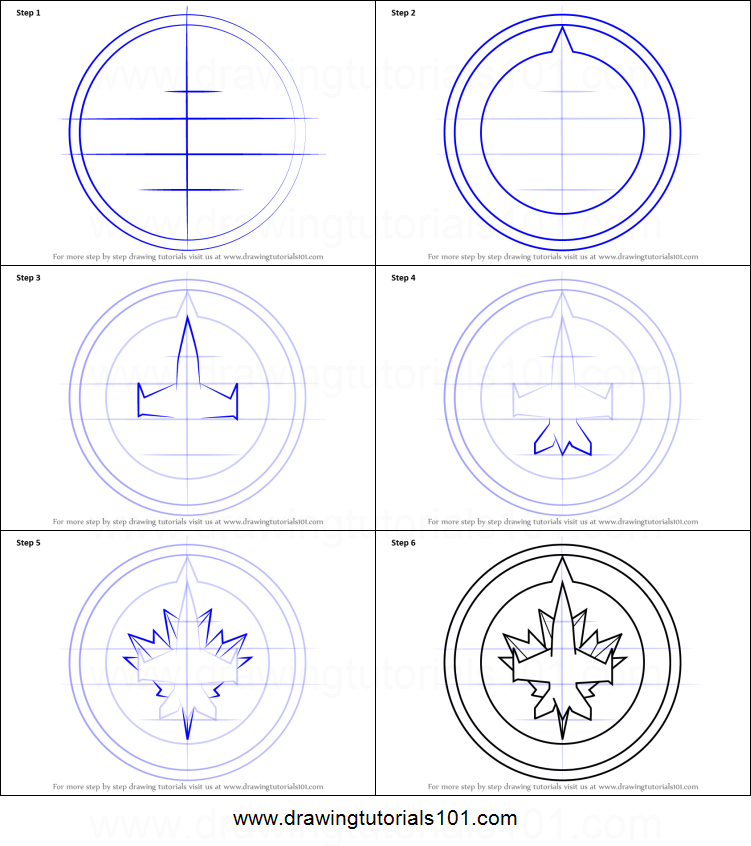 How to draw winnipeg jets logo printable step by step for Jets logo coloring page