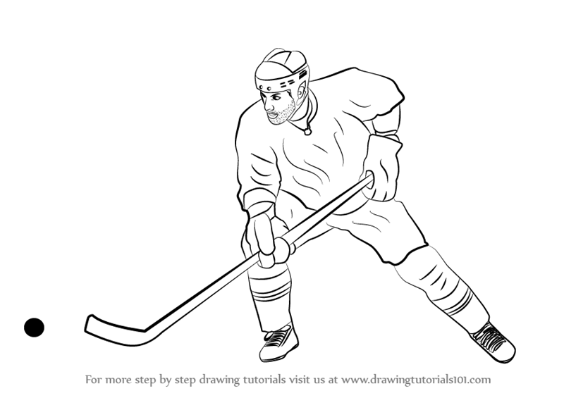 Learn How To Draw Ice Hockey Player Other Sports Step By Step Drawing Tutorials