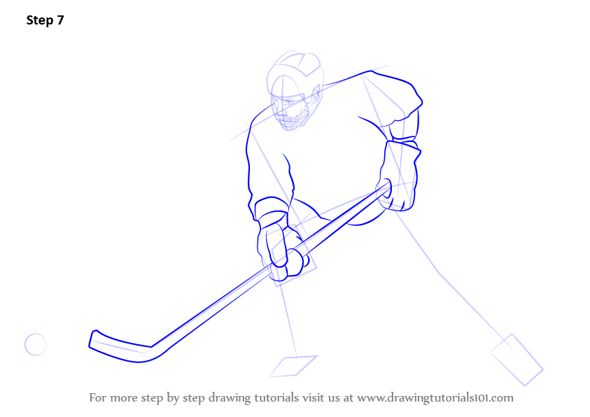 how to draw hockey step by step