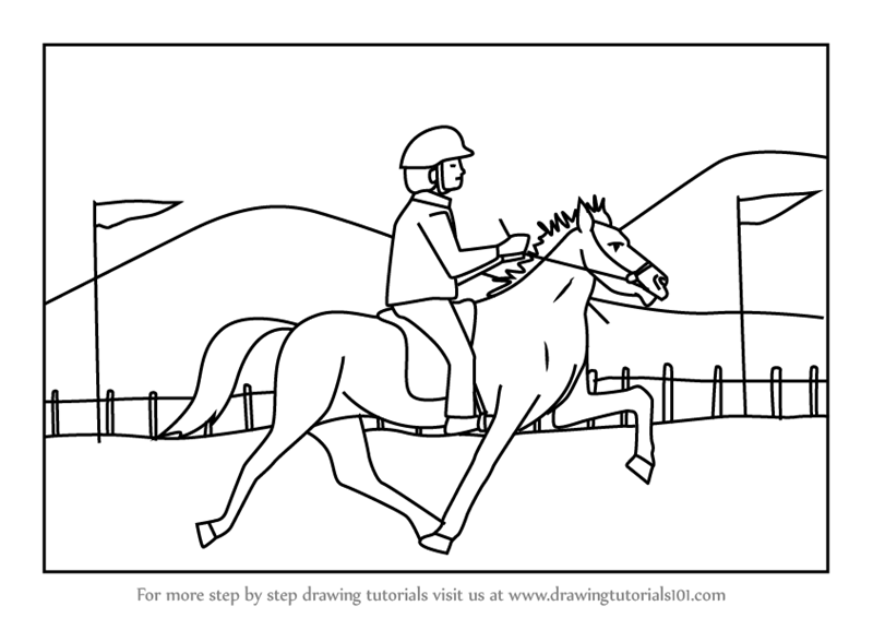 Learn How To Draw A Jockey Riding Horse Scene Other Sports Step By
