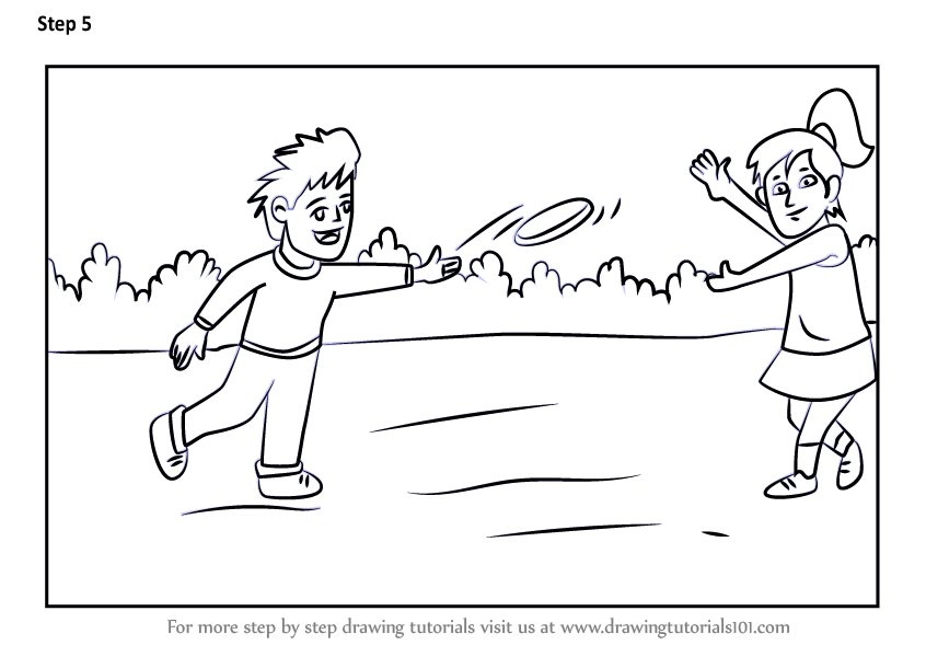 Learn How To Draw Kids Playing Flying Disc Scene Other Sports Step By Step Drawing Tutorials