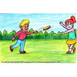 How to Draw Kids playing Flying Disc Scene