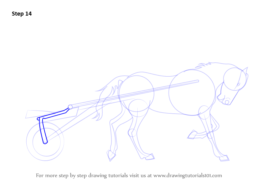 how to draw horse cart