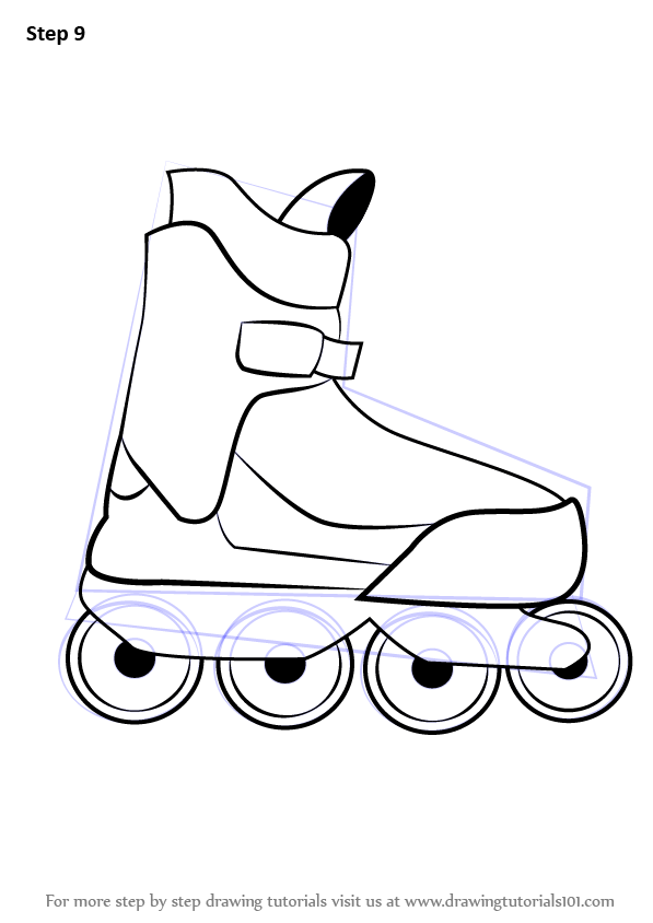 Learn how to draw roller skates other sports step by step