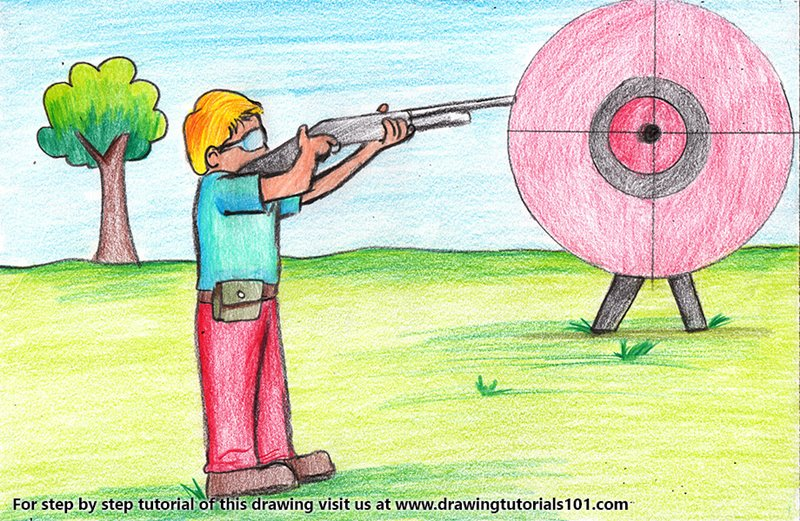 Shooting Sports Scene Color Pencil Drawing