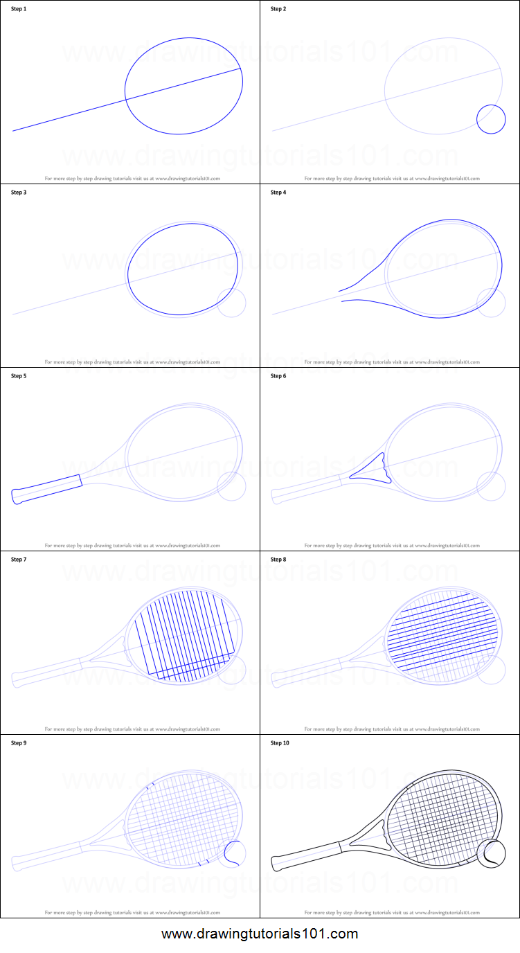 How To Draw Tennis Racket And Ball Printable Step By Step Drawing