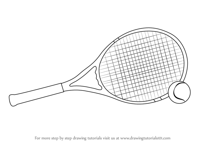 ... Tennis Racket and Ball (Other Sports) Step by Step : Drawing Tutorials Pencil Drawing Pictures Of Flowers