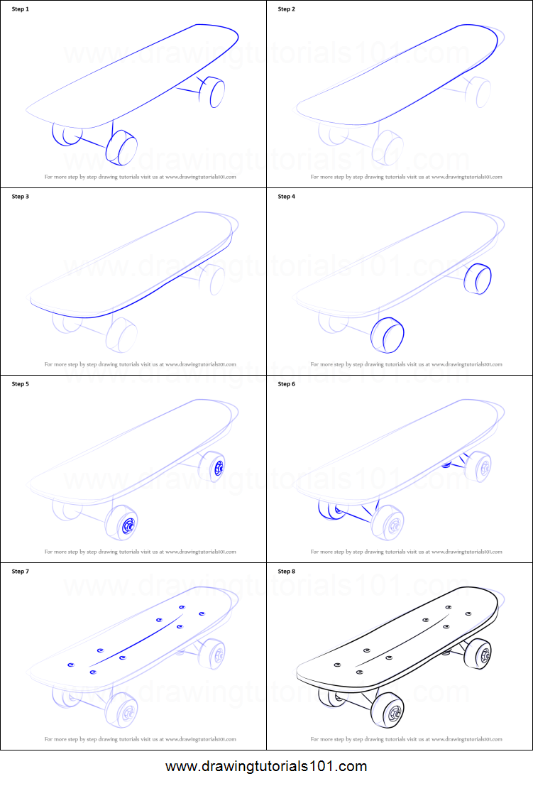 How to draw skateboard printable step by step drawing for How to make doodle art