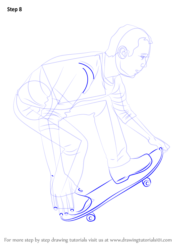 learn how to draw a skateboarder  skateboarding  step by step   drawing tutorials