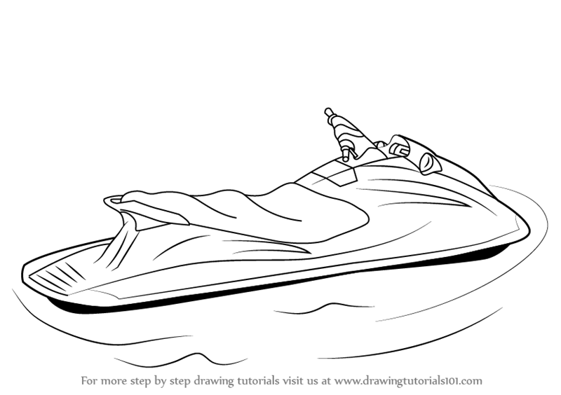 Learn How To Draw A Jet Ski Water Sports Step By Step Drawing Tutorials