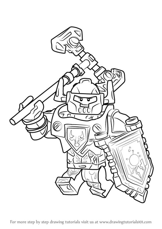 step by step how to draw axl from lego nexo knights