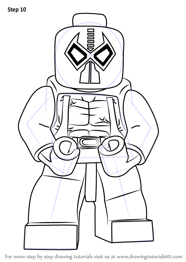 Step By Step How To Draw Lego Bane Drawingtutorials101 Com