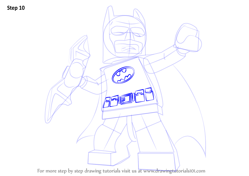 Learn How To Draw Lego Batman (Lego) Step By Step  Drawing Tutorials
