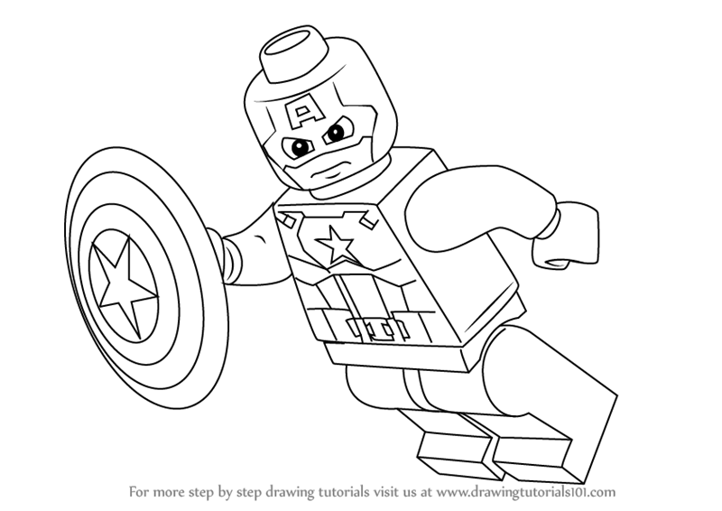 Learn how to draw lego captain america lego step by step drawing tutorials