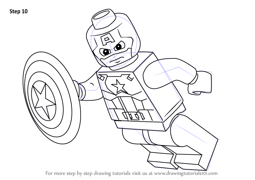 learn how to draw lego captain america  lego  step by step