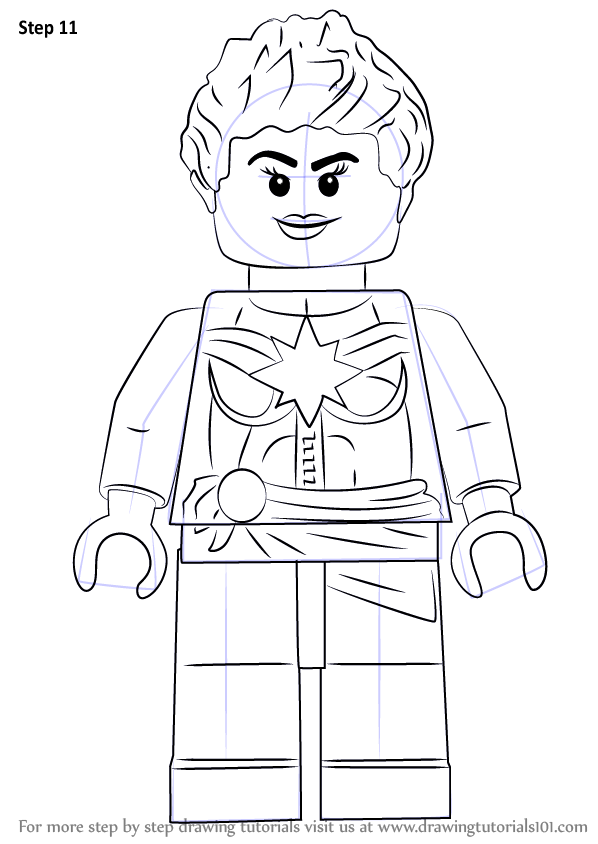Learn How To Draw Lego Captain Marvel Aka Carol Danvers