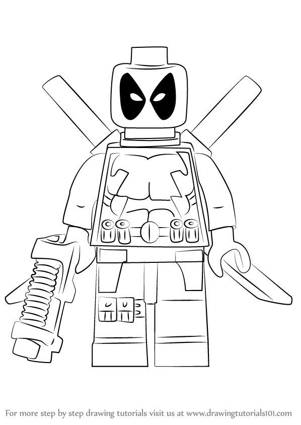 learn how to draw lego deadpool lego step by step drawing tutorials