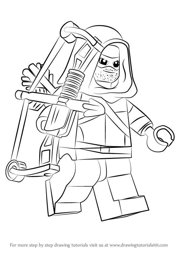 Learn How To Draw Lego Green Arrow Lego Step By Step Drawing Tutorials
