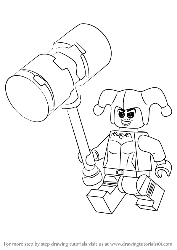 stepstep how to draw lego harley quinn