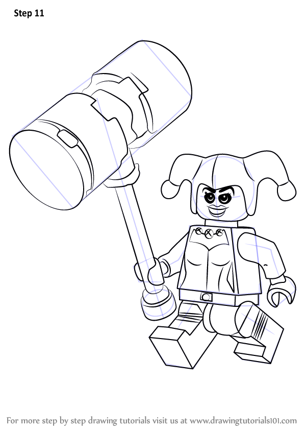 how to draw Lego Harley Quinn step 11