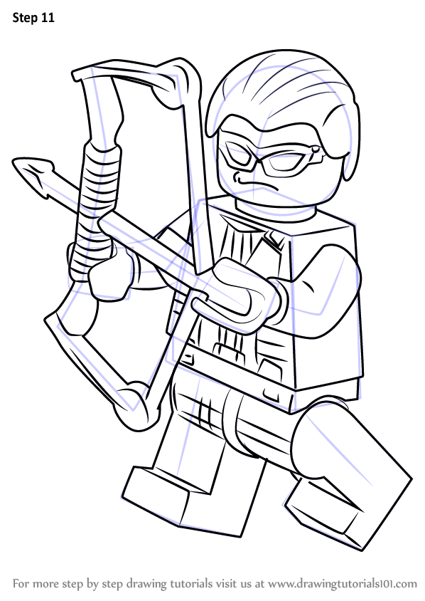 Step by step how to draw lego hawkeye for Marvel hawkeye coloring pages
