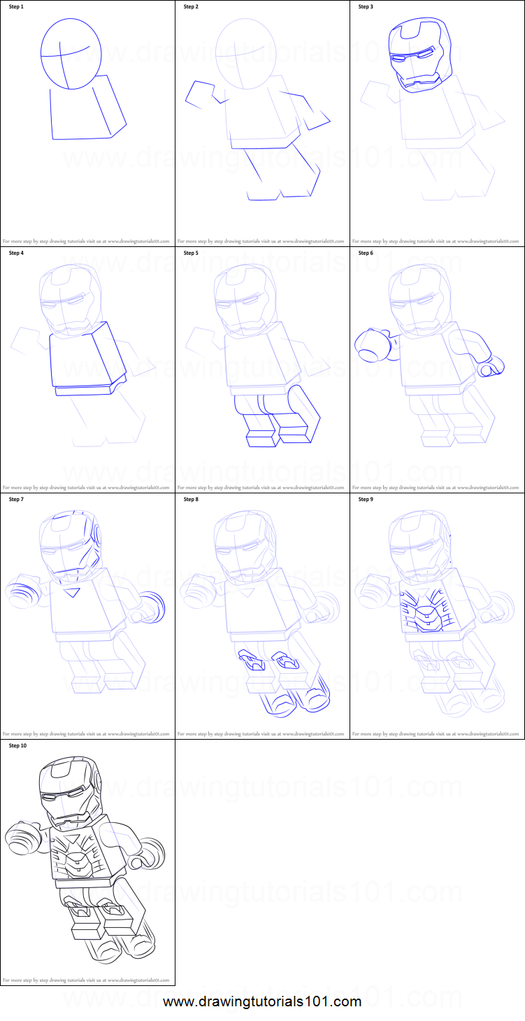 How to Draw Lego Iron Man printable step by step drawing