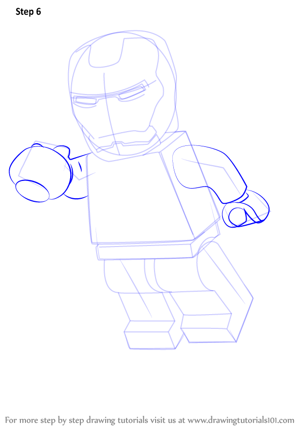Learn How To Draw Lego Iron Man Lego Step By Step