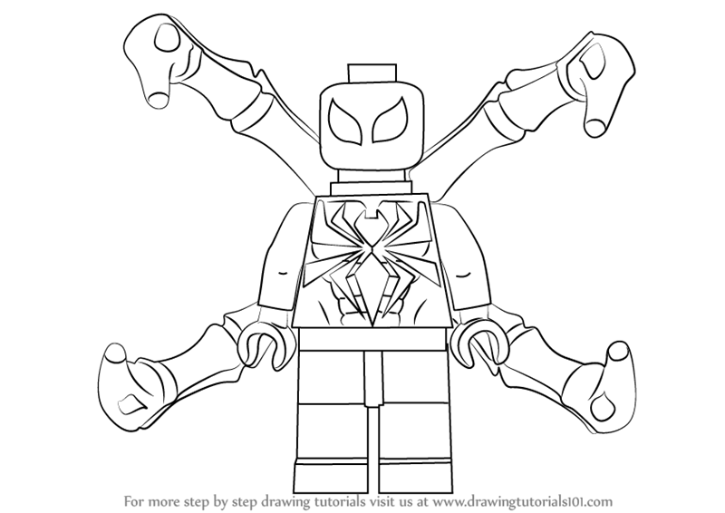 Learn How To Draw Lego Iron Spider Lego Step By Step Lego Iron Coloring Pages