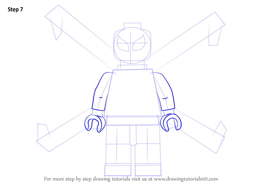 Step by Step How to Draw Lego Iron Spider