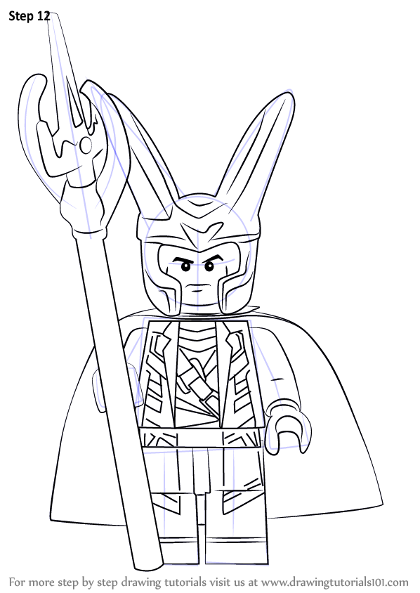 Step by Step How to Draw Lego Loki