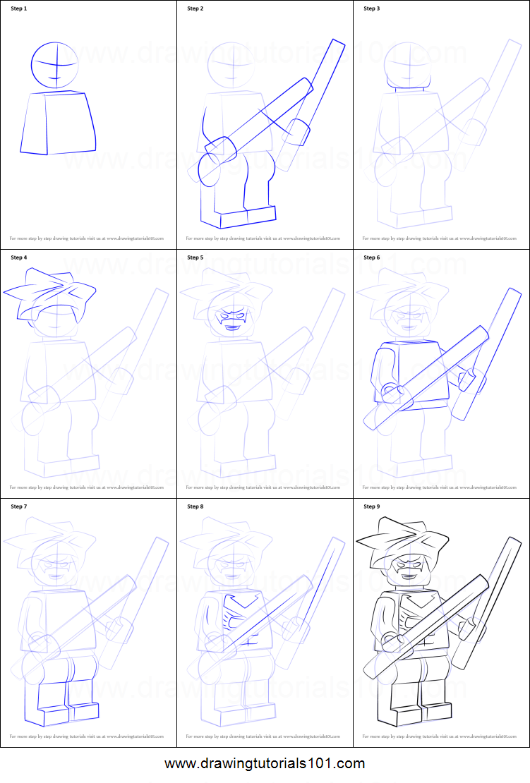 how to draw lego characters step by step