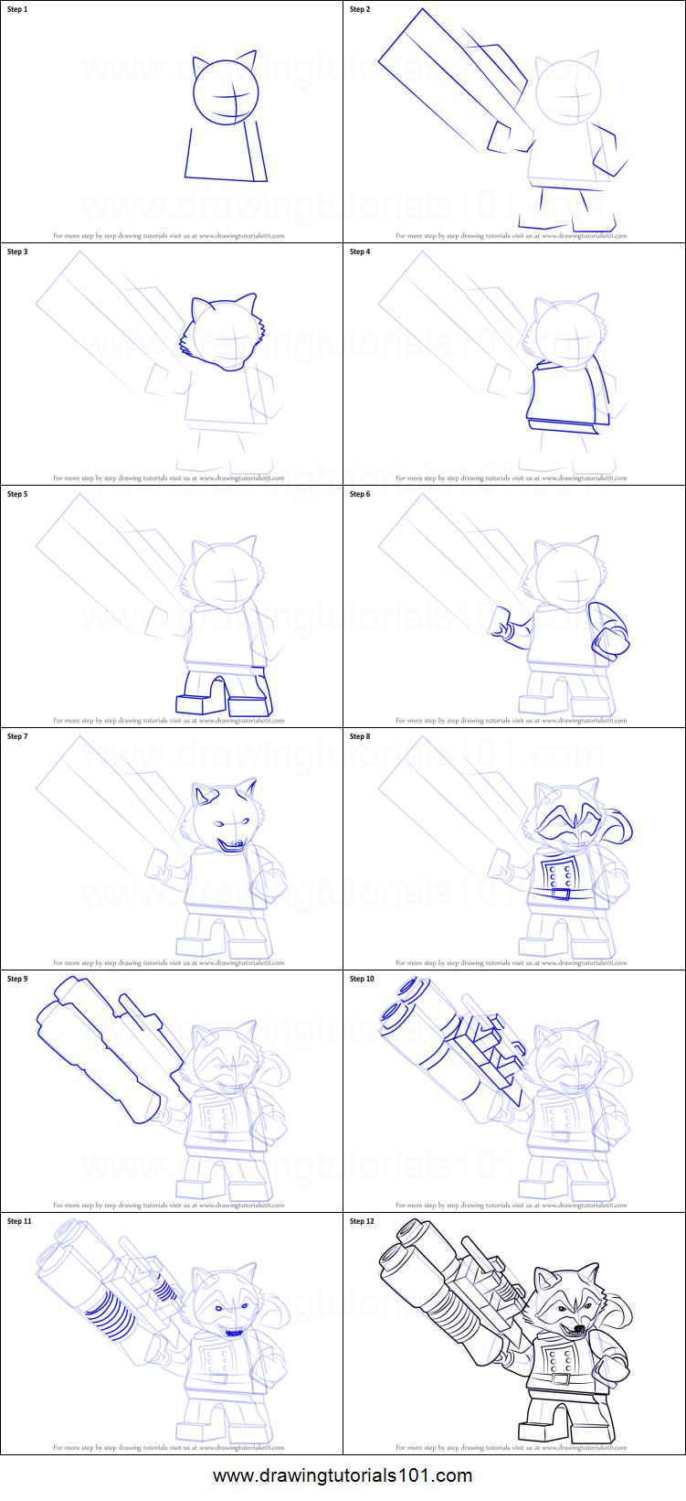 How To Draw Lego Rocket Raccoon Printable Step By Step Drawing Sheet