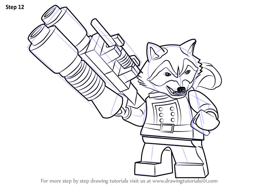 Learn How To Draw Lego Rocket Raccoon Lego Step By Step