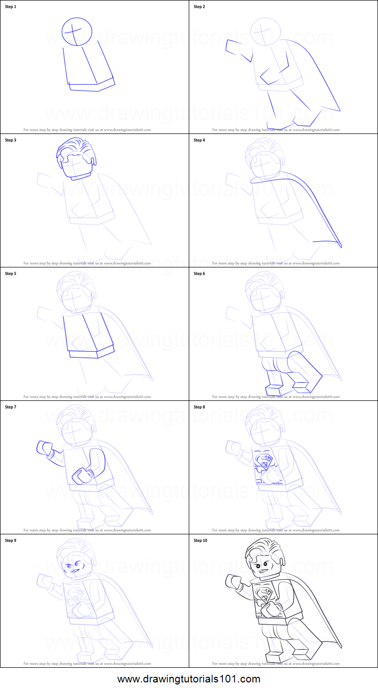 how to draw lego superman printable step by step drawing