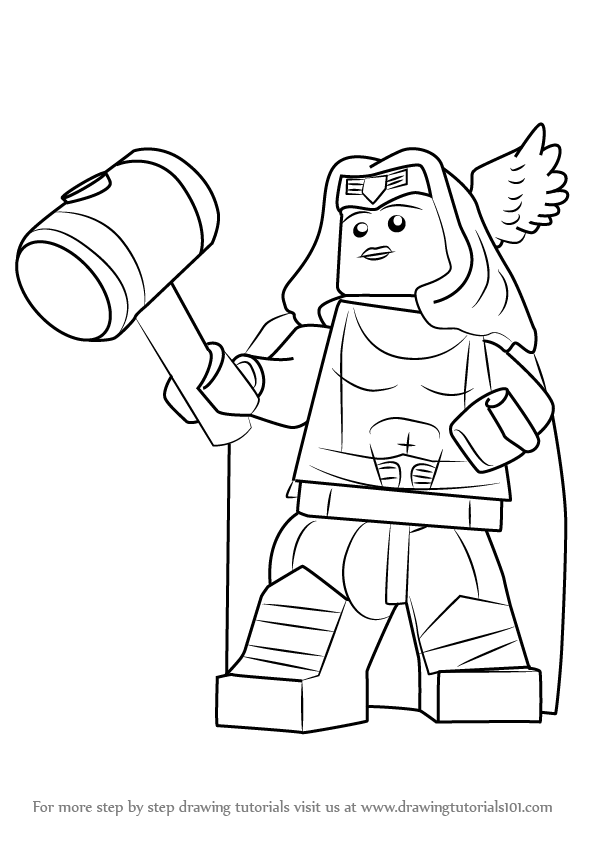 Learn How To Draw Lego Thor Girl Lego Step By Step