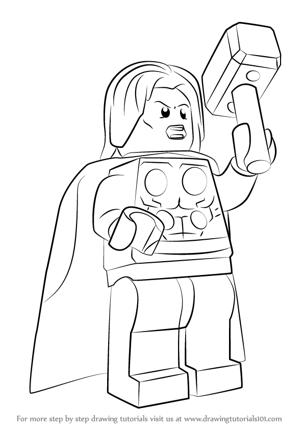 Learn How to Draw Lego Thor (Lego) Step by Step : Drawing ...