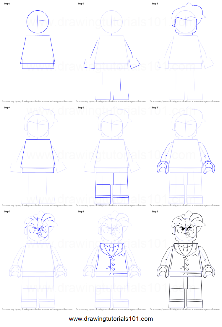 Step by step drawing tutorial on how to draw lego two face