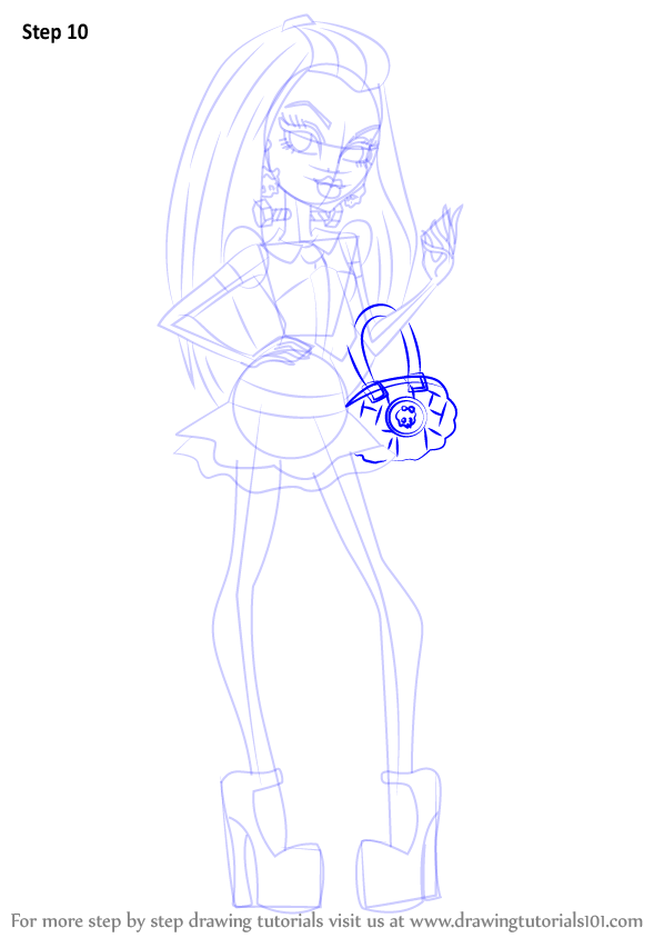 step by step how to draw frankie stein from monster high