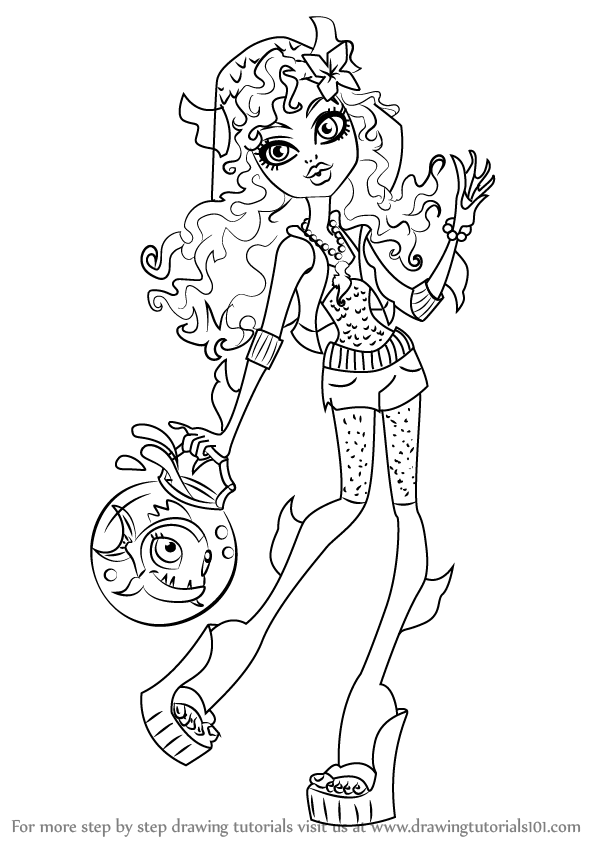 Step by step how to draw lagoona blue from monster high for Monster high coloring pages lagoona blue