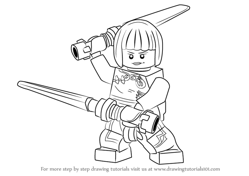 Step by step drawing tutorial on how to draw nya from ninjago