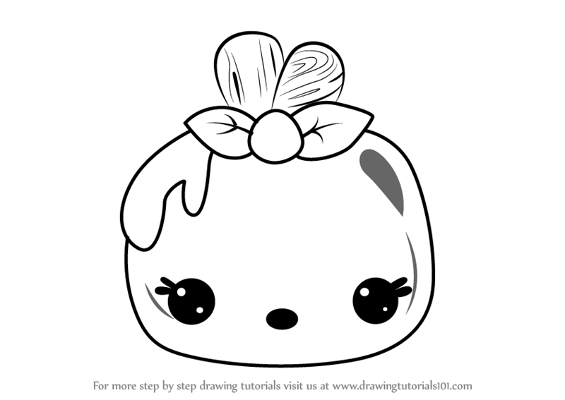 Step by step how to draw apple pop from num noms for Num noms coloring pages