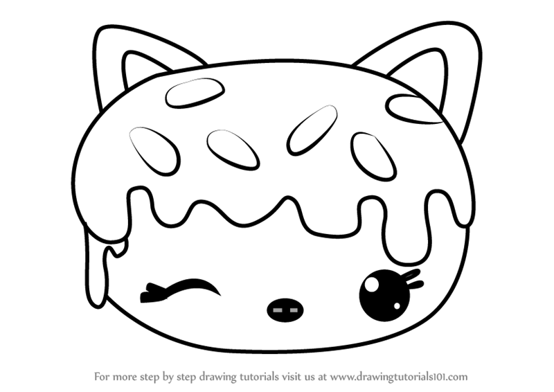 donut coloring page - learn how to draw sprinkles donut from num noms num noms