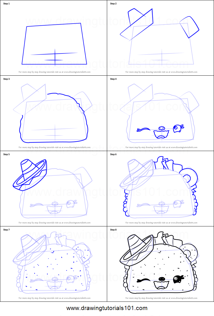 how to draw a taco step by step