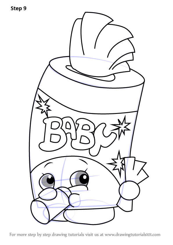 Learn how to draw baby swipes from shopkins shopkins Coloring book drawings