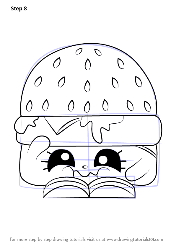 Step By Step How To Draw Cheezey B From Shopkins