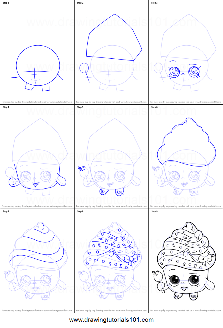 How to Draw Cupcake Queen from Shopkins printable step by step