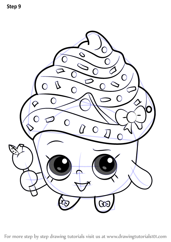 Learn How To Draw Cupcake Queen From Shopkins Step By