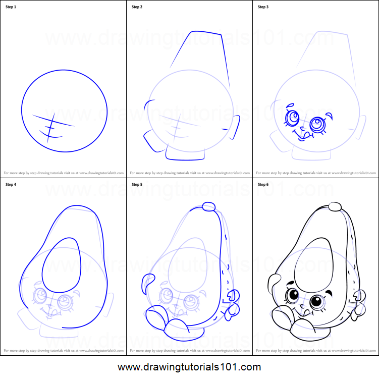 How To Draw Dippy Avocado From Shopkins Printable Step By Step
