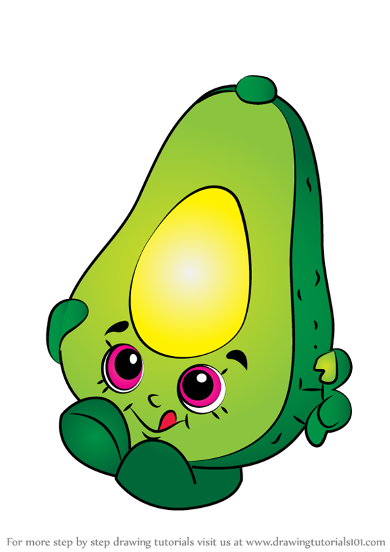Learn How To Draw Dippy Avocado From Shopkins Shopkins Step By