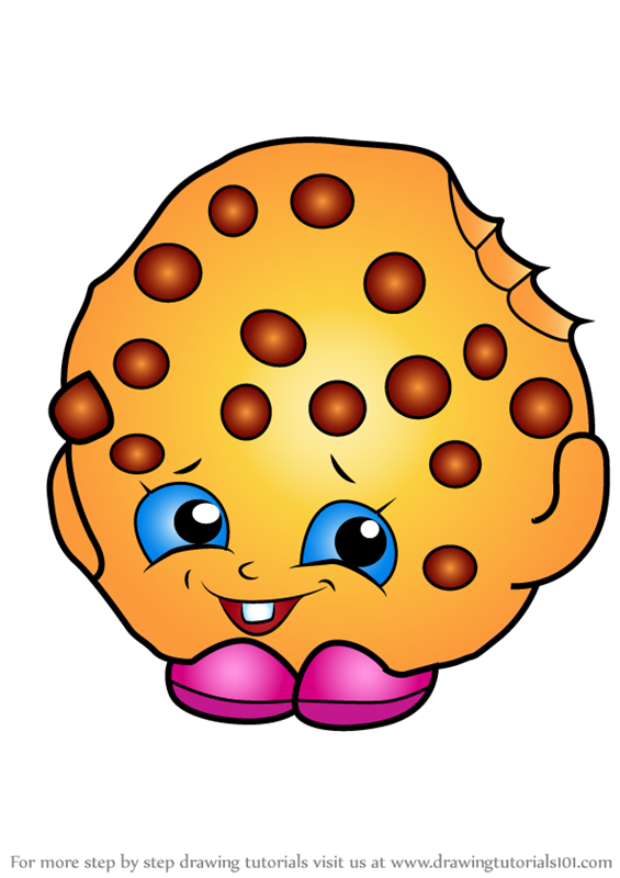 cookies coloring page - learn how to draw kooky cookie from shopkins shopkins